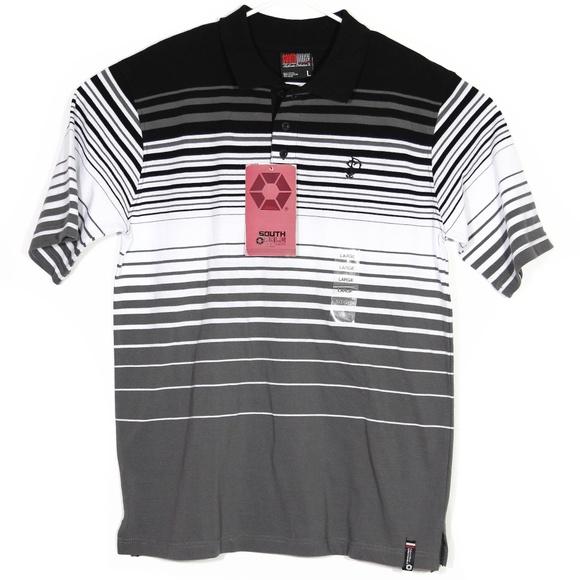 5a54594b412b0 NWT Southpole Mens Polo Shirt L Striped Gray Black